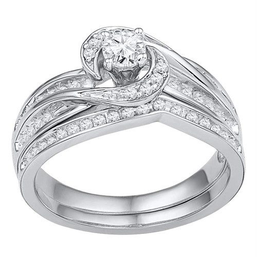 10k White Gold Womens Round Diamond Swirl Bridal Wedding Engagement Ring Band Set 1/2 Cttw