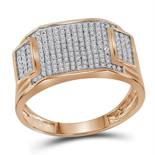 10kt Rose Gold Mens Round Diamond Rectangle Cluster Ring 1/2 Cttw