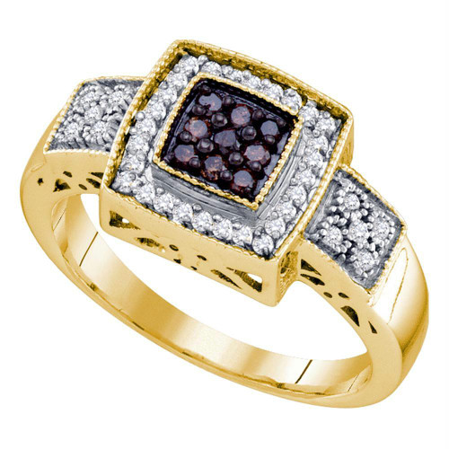 10k Yellow Gold Cognac-brown Color Enhanced Diamond Womens Square-shape Cluster Ring 1/3 Cttw