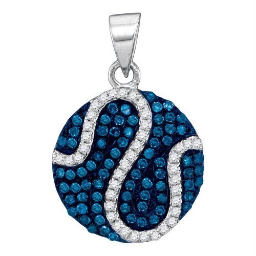 10kt White Gold Womens Round Blue Color Enhanced Diamond Circle Stripe Pendant 3/8 Cttw