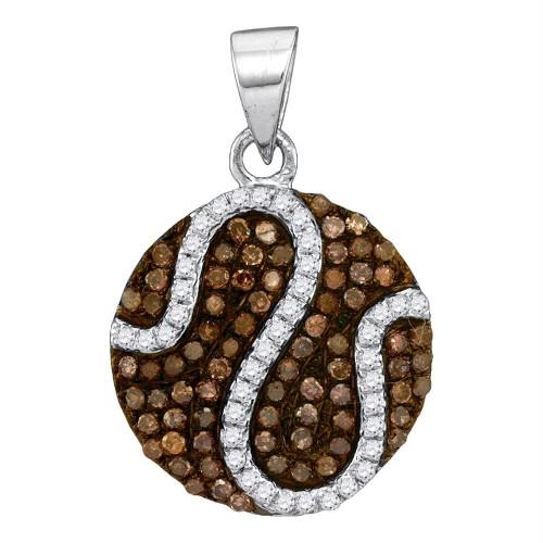 10kt White Gold Womens Round Cognac-brown Color Enhanced Diamond Circle Cluster Pendant 3/8 Cttw