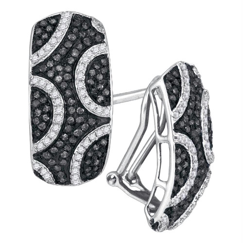 10kt White Gold Womens Round Black Color Enhanced Diamond Stripe Cluster French-clip Earrings 3/4 Cttw