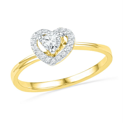 10kt Yellow Gold Womens Round Diamond Heart Love Promise Bridal Ring 1/4 Cttw - 101818-10