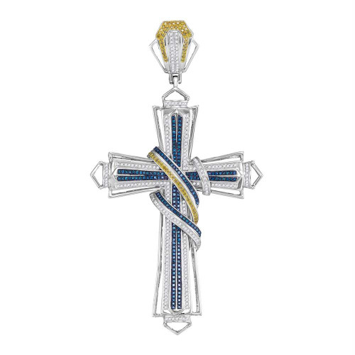 10kt White Gold Mens Round Blue & Yellow Color Enhanced Diamond Bound Flared Cross Charm Pendant 1-5/8 Cttw