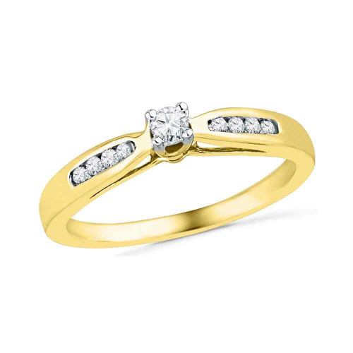 10kt Yellow Gold Womens Round Diamond Solitaire Promise Bridal Ring 1/5 Cttw - 100254-5.5
