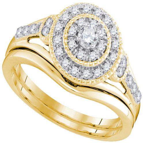 10kt Yellow Gold Womens Round Diamond Bridal Wedding Engagement Ring Band Set 1/3 Cttw - 98376-10