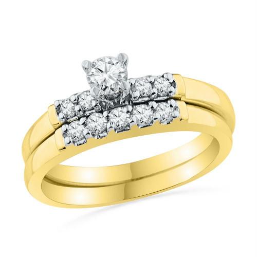 10kt Yellow Gold Womens Round Diamond Bridal Wedding Engagement Ring Band Set 1/2 Cttw - 101405-5