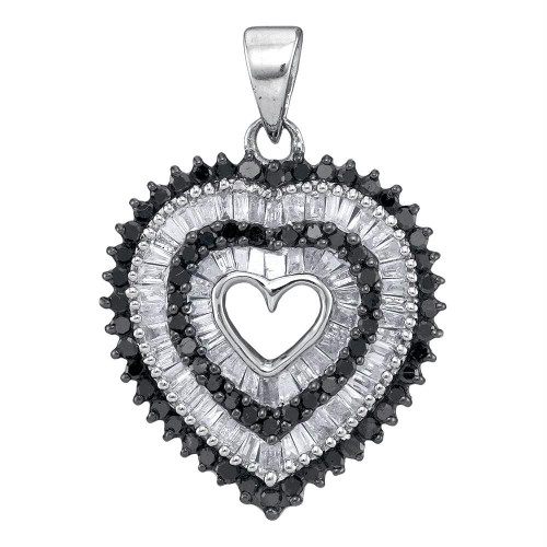 10kt White Gold Womens Round Black Color Enhanced Diamond Framed Heart Pendant 7/8 Cttw