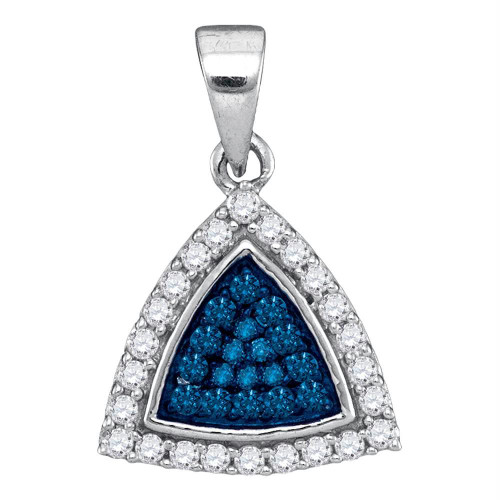 10kt White Gold Womens Round Blue Color Enhanced Diamond Triangle Frame Cluster Pendant 1/3 Cttw