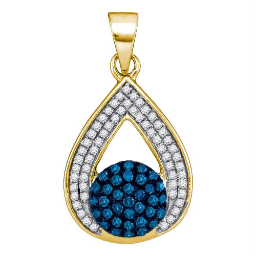 10kt Yellow Gold Womens Round Blue Color Enhanced Diamond Teardrop Cluster Pendant 1/3 Cttw