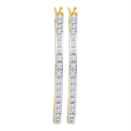 10kt Yellow Gold Womens Round Prong-set Diamond Slender Single Row Hoop Earrings 1/4 Cttw