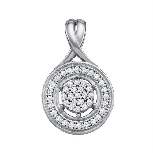 10k White Gold Round Diamond Cluster Womens Circle Pendant 1/6 Cttw