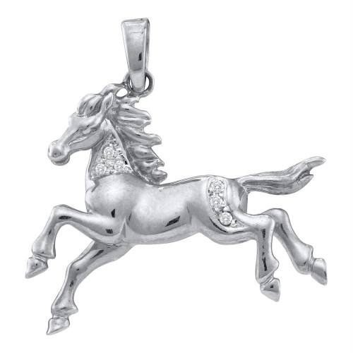 10k White Gold Womens Round Diamond Horse Mare Animal Large Pendant 1/20 Cttw