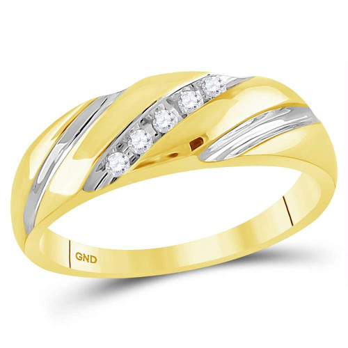 14kt Yellow Gold Mens Round Diamond Two-tone Single Row Wedding Band Ring 1/10 Cttw