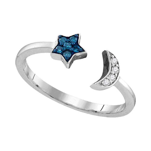 Sterling Silver Womens Round Blue Color Enhanced Diamond Star Crescent Moon Bisected Band Ring 1/10 Cttw
