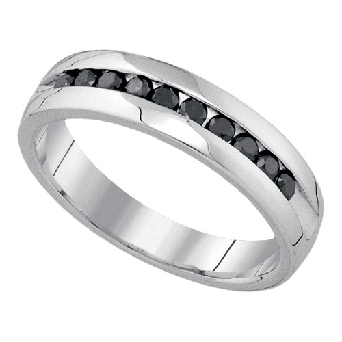 10kt White Gold Mens Round Black Color Enhanced Diamond Wedding Band Ring 1/2 Cttw