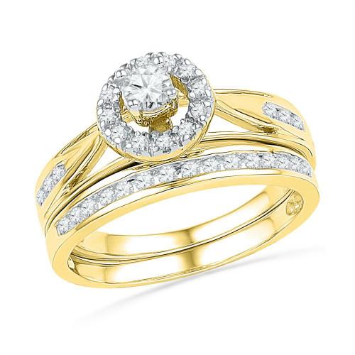 10kt Yellow Gold Womens Round Diamond Bridal Wedding Engagement Ring Band Set 1/2 Cttw - 101456-5.5