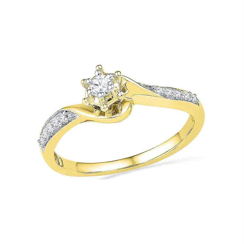 10kt Yellow Gold Womens Round Diamond Solitaire Bridal Wedding Engagement Ring 1/6 Cttw - 100420-8