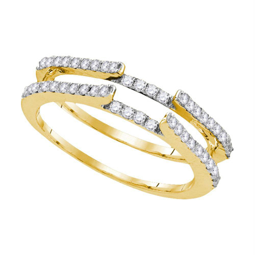 14kt Yellow Gold Womens Round Diamond Ring Guard Wrap Solitaire Enhancer 1/2 Cttw - 106710-5.5