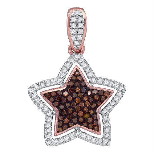 10kt Rose Gold Womens Round Red Color Enhanced Diamond Star Pendant 1/4 Cttw