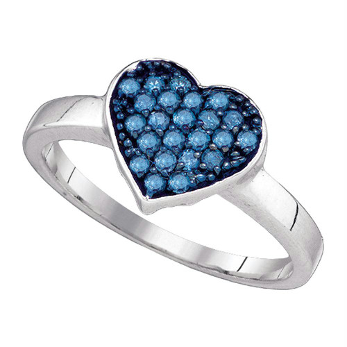 10kt White Gold Womens Round Blue Color Enhanced Diamond Heart Cluster Ring 1/3 Cttw