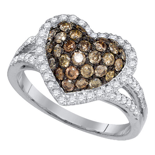 10kt White Gold Womens Round Cognac-brown Color Enhanced Diamond Heart Love Cluster Ring 1-3/8 Cttw