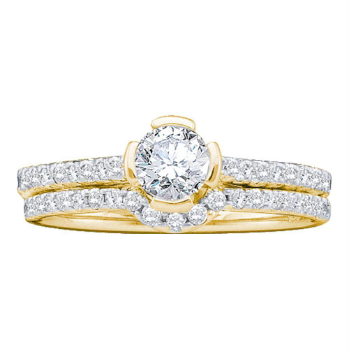 14kt Yellow Gold Womens Round Diamond Bridal Wedding Engagement Ring Band Set 3/4 Cttw - 39512