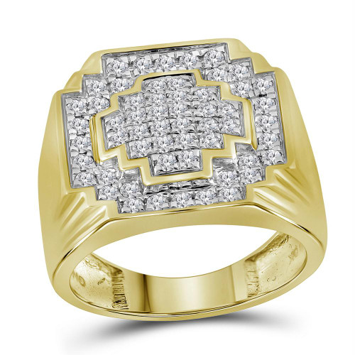 10kt Yellow Gold Mens Round Diamond Pave-set Square Cluster Ring 1.00 Cttw