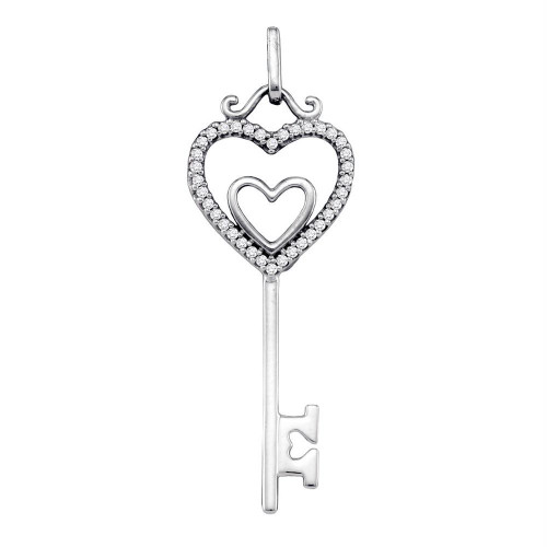 10kt White Gold Womens Round Diamond Key Double Heart Pendant 1/10 Cttw