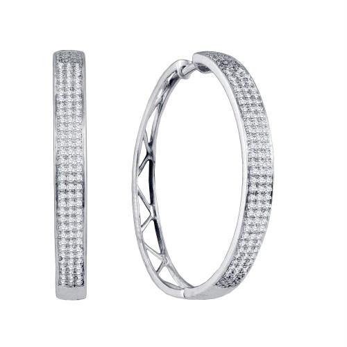 10k White Gold Round Diamond Womens Large Hoop Earrings 3/4 Cttw