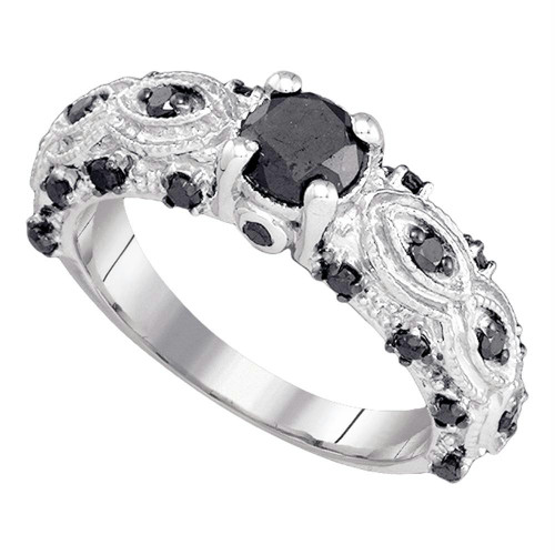 10kt White Gold Womens Round Black Color Enhanced Diamond Solitaire Bridal Wedding Engagement Ring 1.00 Cttw - 82315-11