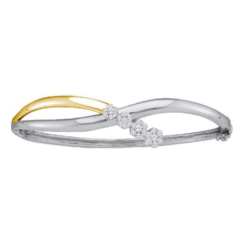 14kt Two-tone Gold Womens Round Diamond Flower Cluster Bangle Bracelet 1/2 Cttw