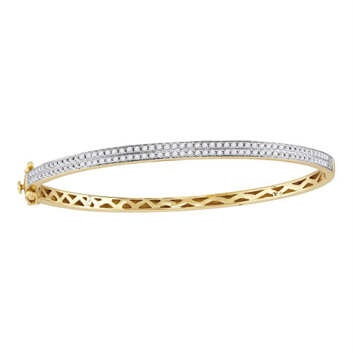 14kt Yellow Gold Womens Round Diamond Bangle Bracelet 1.00 Cttw