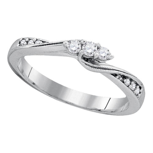 10kt White Gold Womens Round Diamond 3-stone Bridal Wedding Engagement Ring 1/6 Cttw