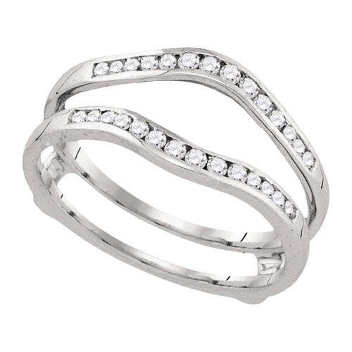 14kt White Gold Womens Round Diamond Ring Guard Wrap Solitaire Enhancer 1/4 Cttw - 92866-10