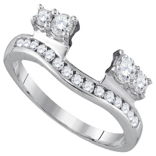14kt White Gold Womens Round Diamond Ring Guard Wrap Solitaire Enhancer 1/2 Cttw - 92800-5