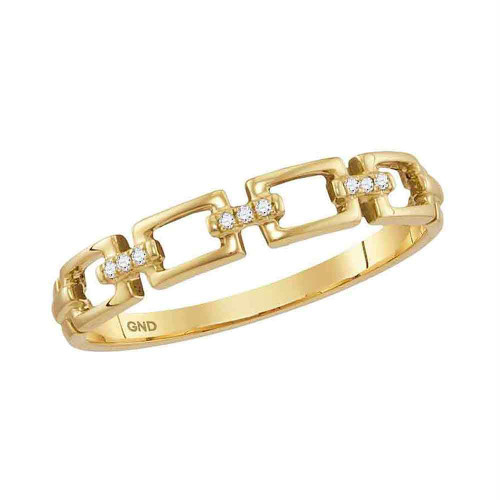10kt Yellow Gold Womens Round Diamond Chain Link Stackable Band Ring .03 Cttw