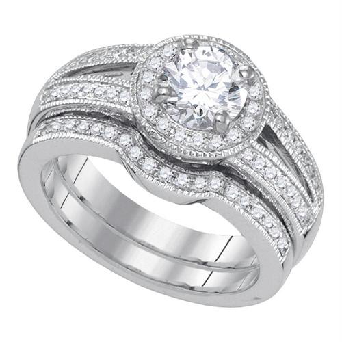 14kt White Gold Womens Round Diamond Halo Bridal Wedding Engagement Ring Band Set 1-1/3 Cttw - 84085-10.5