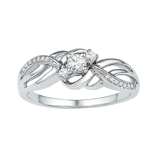 10kt White Gold Womens Round Diamond 3-stone Bridal Wedding Engagement Ring 1/4 Cttw - 108642-5