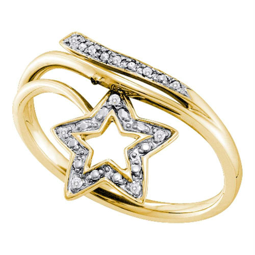 10kt Yellow Gold Womens Round Diamond Star Bypass Band Ring .03 Cttw