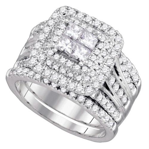 14kt White Gold Womens Princess Diamond Cluster Halo Bridal Wedding Engagement Ring Band Set 2.00 Cttw
