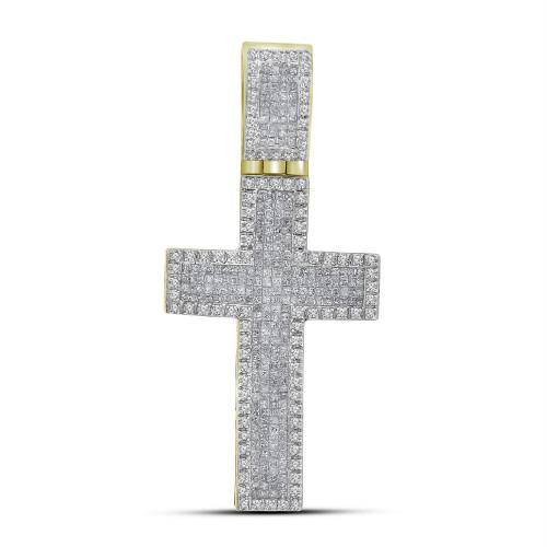 10kt Yellow Gold Mens Princess Round Diamond Inset Christian Cross Charm Pendant 1-5/8 Cttw