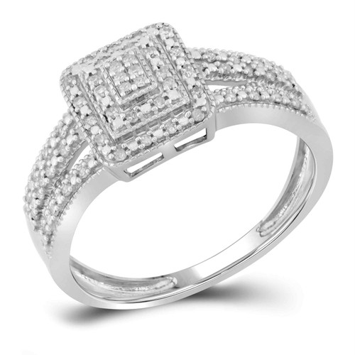 10kt White Gold Womens Round Diamond Square Cluster Bridal Wedding Engagement Ring 1/6 Cttw - 98437-8