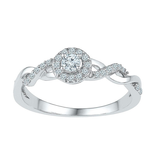 10kt White Gold Womens Round Diamond Solitaire Bridal Wedding Engagement Ring 1/5 Cttw - 109629-8