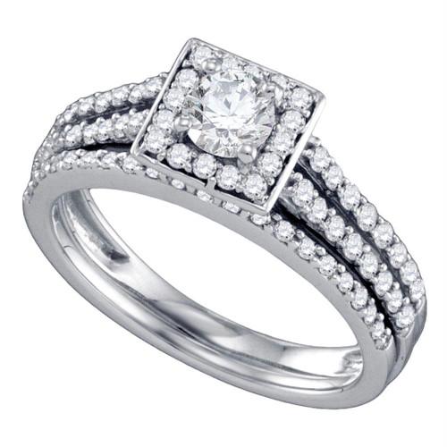 14kt White Gold Womens Round Diamond Square Halo Bridal Wedding Engagement Ring Band Set 1.00 Cttw