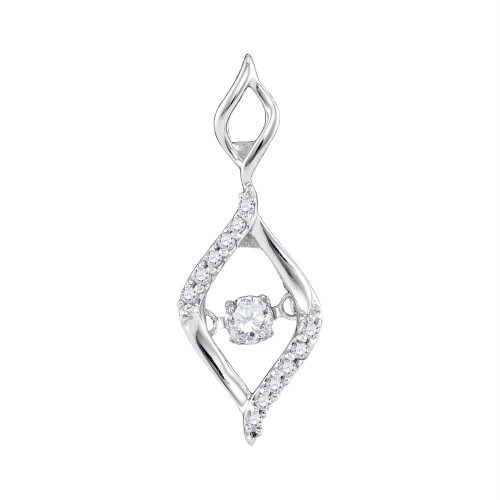 10kt White Gold Womens Round Diamond Moving Twinkle Oval Fashion Pendant 1/6 Cttw