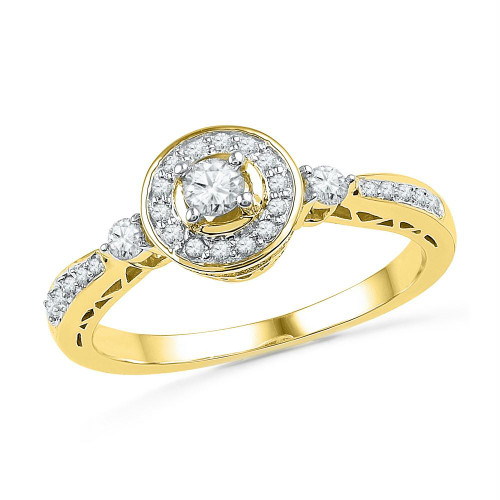 10kt Yellow Gold Womens Round Diamond Solitaire Halo Bridal Wedding Engagement Ring 3/8 Cttw