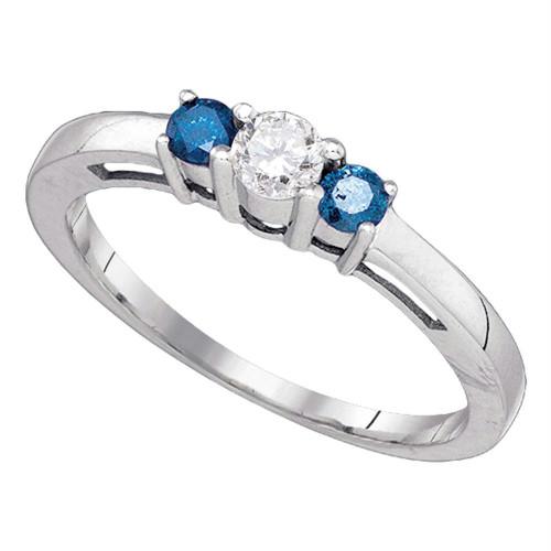 10kt White Gold Womens Round Blue Diamond 3-stone Bridal Wedding Engagement Ring 3/8 Cttw