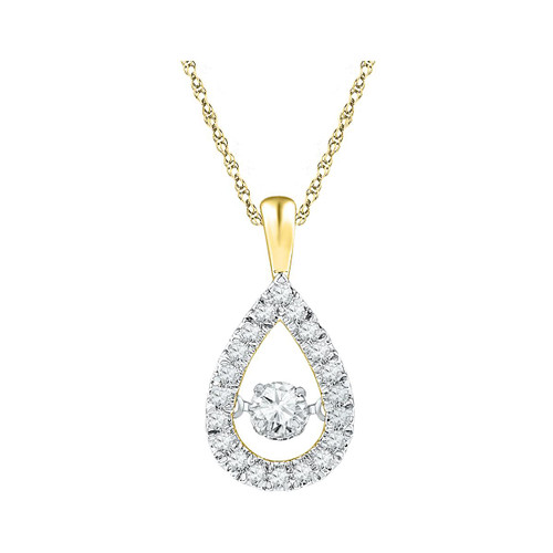 10kt Yellow Gold Womens Round Diamond Moving Twinkle Solitaire Teardrop Pendant 3/8 Cttw