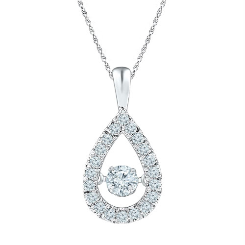 10kt White Gold Womens Round Diamond Moving Twinkle Solitaire Teardrop Pendant 3/8 Cttw
